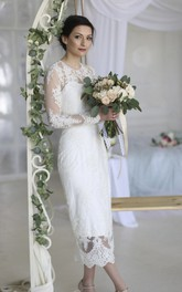 Sheath Ankle-length Wedding Dress With Illusion Lace Appliques And Split Back