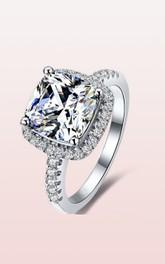 Halo Cushion Cut 925 Silver Bridal Wedding Rings