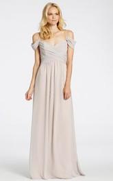 Spaghetti Criss cross Chiffon Bridesmaid Dress With Zipper