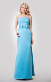 Jeweled Lace Top Bow Floor-Length Satin Dress