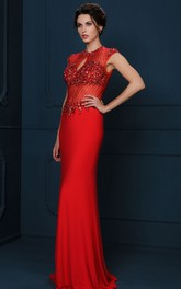 Sheath Floor-Length Crystal Cap-Sleeve Jewel-Neck Jersey Evening Dress
