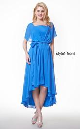 High-Low Satin Ribbon Ruffled Short-Sleeve Chiffon Dress