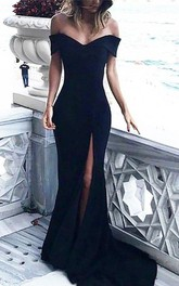 Strapless Jersey Sleeveless Floor-length Court Train Bodycon Evening Dress with Split Front