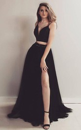 Two Piece Sleeveless Satin Tulle Modern Formal Dress with Ribbon
