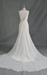 A-Line Beaded Wedding Sleeveless V-Neckline Chiffon Dress