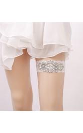 White Sexy Lace Rhinestone Princess Style Handmade Garter Grip Within 16-23inch