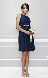 A-Line Mini Sleeveless Beaded Scoop Neck Satin Bridesmaid Dress