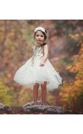 Ruffled Sleeveless Rustic Sequin-Bodice Flower Girl Dress