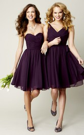 Sweetheart Criss cross short A-line Bridesmaid Dresses