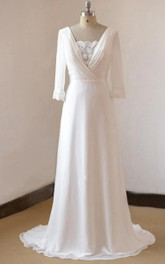 Scoop-neck 3-4-sleeve A-line Wedding Dress With Deep-V Back And Sweep Train