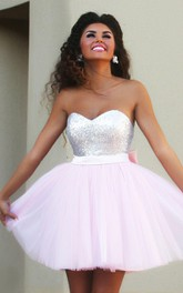 Strapless Sweetheart Tulle Sequins Sleeveless Short A Line Homecoming Dress