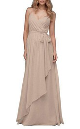 Wrap Ruched Spaghetti Long Bridesmaid Dress
