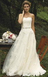 Strapless Lace Appliques A-line Tulle Dress With Embellished Waist