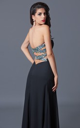 A-Line Front-Slit Crystal-Jeweled Sweetheart Gown