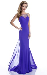 Bateau Sleeveless Beaded Sheath Dress With Illusion back