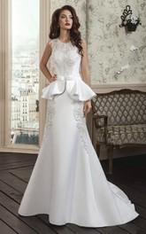 Bow-Slit Illusion Corset Back Lace A-Line Gown