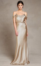 sheer Spaghetti Sheath Floor-length Dress With Low-V Back
