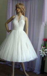 Knee-Length Satin Sash Halter Tulle A-Line Dress