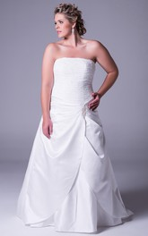 Strapless A-line Satin plus size Gown With Ruched bodice And Sweep Train