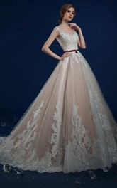 Sleeveless Appliqued Floor-Length A-Line Lace Dress