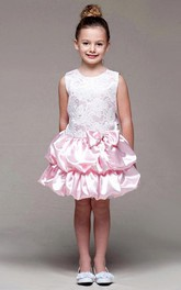 Lace Sash Tiered Short-Midi Flower Girl Dress