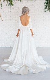 A-Line Bateau Neck Satin Long-Sleeve Gown