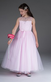 Bow Satin Sash Sequins Tulle Rhinestone-Neckline Flower Girl Dress