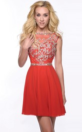 Bateau Sleeveless Beaded short Prom Dress With Low-V Back