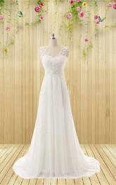 Wedding Appliqued Rhinestone Sleeveless V-Neckline Gown