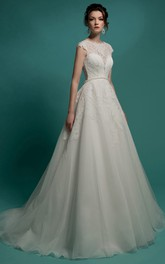 Cap-Sleeve Appliqued Jewel Floor-Length A-Line Organza Dress