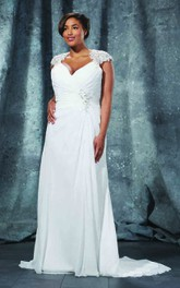 Chiffon Draping Floor-Length Sheath Illusion Gown