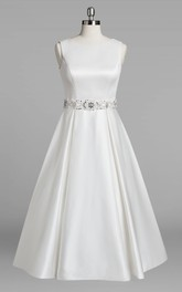 3-4-Length Jewel Sleeveless Jewel-Neckline Bridal Dress