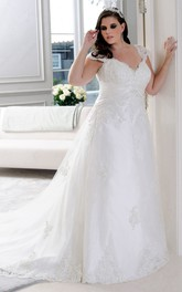 Queen Anne V-neck Appliqued Wedding Dress With lace up And Court Train