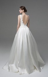 A-Line Appliqued Sleeveless Simple Bridal Dress