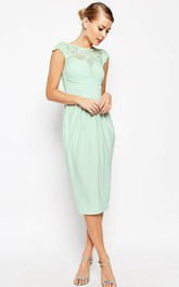 Pencil Tea-length Bateau-neck cap Chiffon Dress With Lace