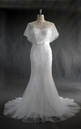 Trumpet Beaded Tulle Jewel-Neckline Wedding Dress