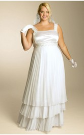 Strapped Tiered A-line plus size wedding dress With Jeweled Waist And Pleats