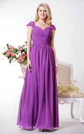 Cap Sleeves Spaghetti Chiffon Graceful Gown