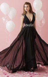 dipped-v-neck Cap-sleeve Chiffon Prom Dress With Beading And Keyhole