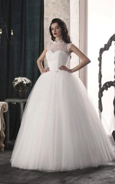 Lace Illusion Corset Back Tulle A-Line Bridal Dress