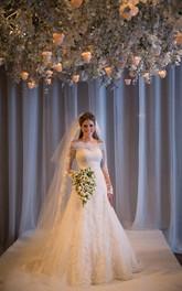 Noiva Train Ivory Long Sleeve Lace Wedding Dress Elegant Sweep Zipper Back Vestidos De Applique Wedding Dress