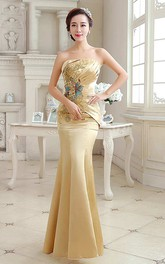 Mermaid Floor-length Strapless Sleeveless Satin Dress with Pleats