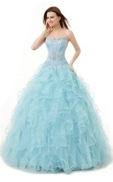 Sweetheart Sequined Ruffled Strapless Ball Gown