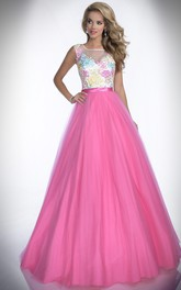 Embroidered-Bodice Bateau Neck A-Line Tulle Formal Dress