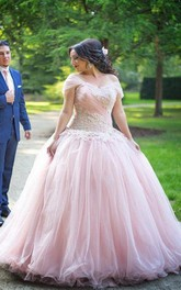 Off-the-shoulder Lace Tulle Short Sleeve Floor-length Appliques Beading  Dress