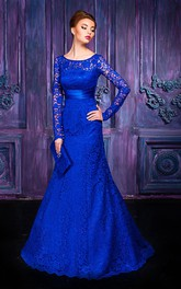 Jewel Lace Floor-Length A-Line Keyhole Long-Sleeve Gown