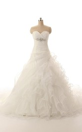 Sleeveless Cascading-Ruffled Beadwork Crisscross Organza Dress
