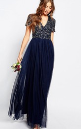 V-neck Short Sleeve Tulle Dress With Beading And Pleats