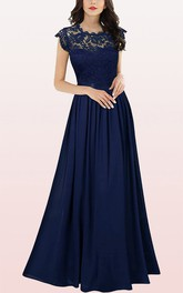 Modern Scalloped Chiffon A Line Evening Dress With Pleats