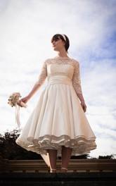 Pleated Taffeta High-Neckline 1950S Wedding 3-4-Length Dress